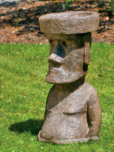 Rapa Nui, stained concrete Easter Island statue for outdoor garden or patio