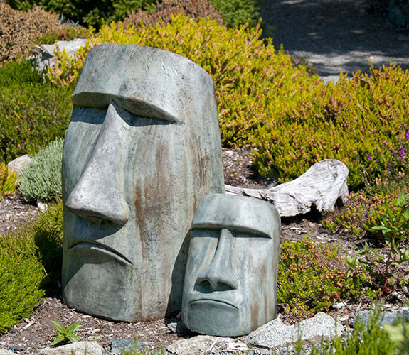Rapa Nui Face Large and Medium, stained concrete faces for outdoor garden or patio