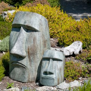 Rapa Nui Large and Medium, stained concrete Easter Island Faces for outdoor garden or patio