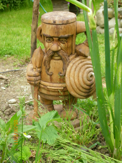 Sir Dugless of Canalot, humorous garden art, concrete outdoor, gnome