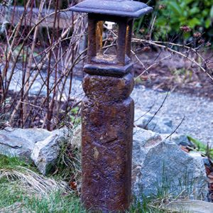 Solar Japanese Lantern Saiseki, stained concrete lamp for outdoor garden or patio