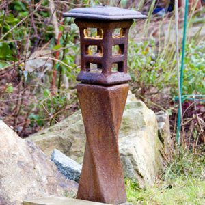 Solar Japanese Lantern Yojiru, stained concrete lamp for outdoor garden or patio