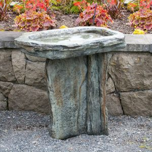 Slate Birdbath, stained concrete bird bath for outdoor garden or patio