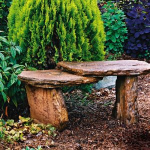 Slate Bench, stained concrete furniture for outdoor garden or patio