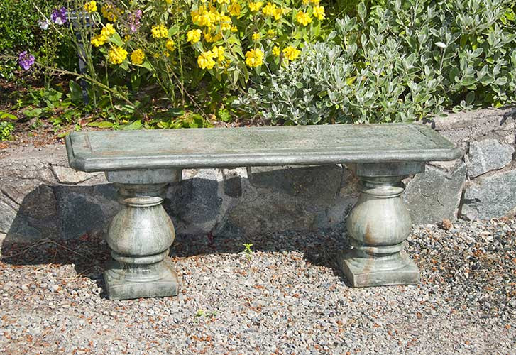 Slate Inlaid Bench, stained concrete furniture for outdoor garden or patio