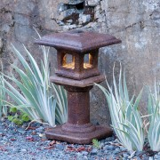 Solar Mini Japanese Lantern Kobe , stained concrete lamp for outdoor garden or patio