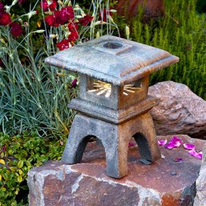 Solar Mini Japanese Lantern Osaka , stained concrete lamp for outdoor garden or patio