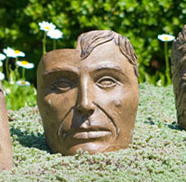 Small Young Emperor, stained concrete face for outdoor garden or patio