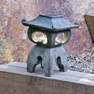 Solar Tea Lamp Osaka Square , stained concrete lamp for outdoor garden or patio