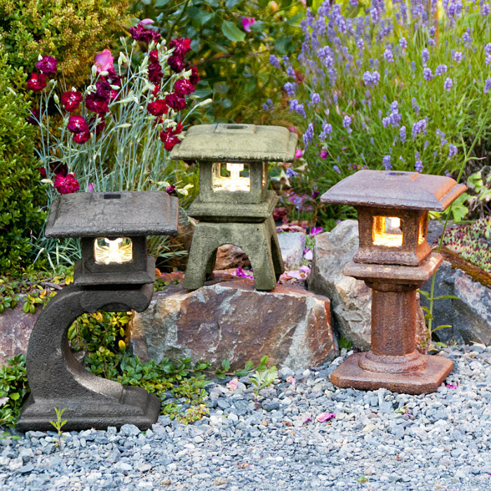 Solar Mini Japanese Lanterns garden