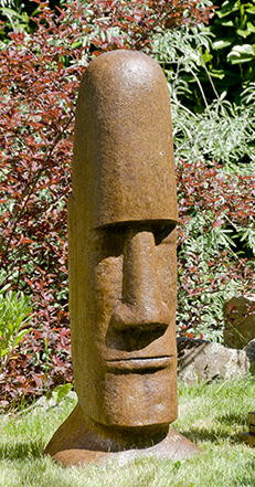 Tiki Head Easter Island Large, stained concrete face for outdoor garden or patio
