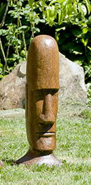 Tiki Head Easter Island Small, stained concrete face for outdoor garden or patio