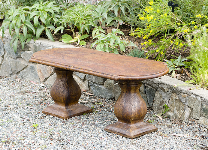 Traditional Colonial Bench Straight, stained concrete furniture for outdoor garden or patio