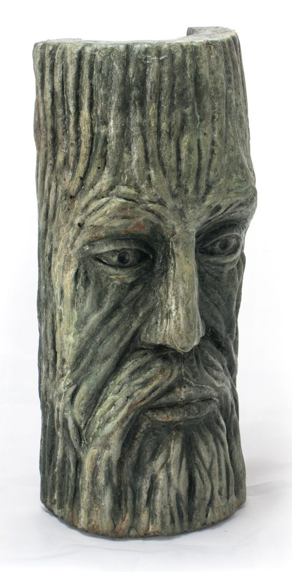 Treeman Mask Small, stained concrete face for outdoor garden or patio