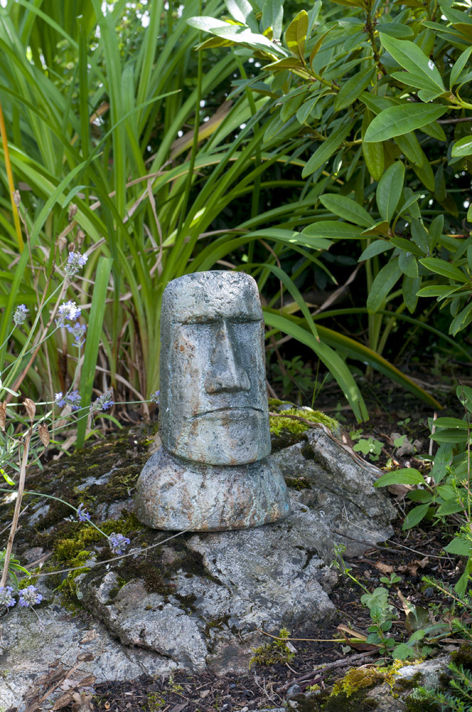 Tabletop Rapa Nui, stained concrete face for outdoor garden or patio