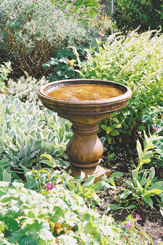 Turned Pedestal Birdbath, stained concrete bird bath for outdoor garden or patio