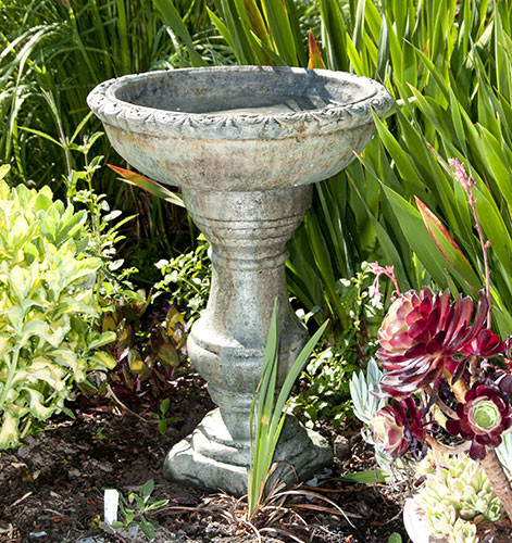 Tuscan Birdbath, stained concrete bird bath for outdoor garden or patio