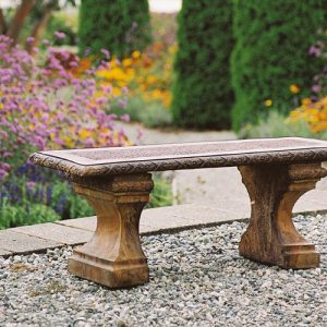 Wicker Bench, stained concrete furniture for outdoor garden or patio