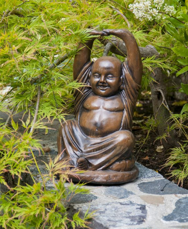 Yoga Buddha, stained concrete oriental ornament for outdoor garden or patio