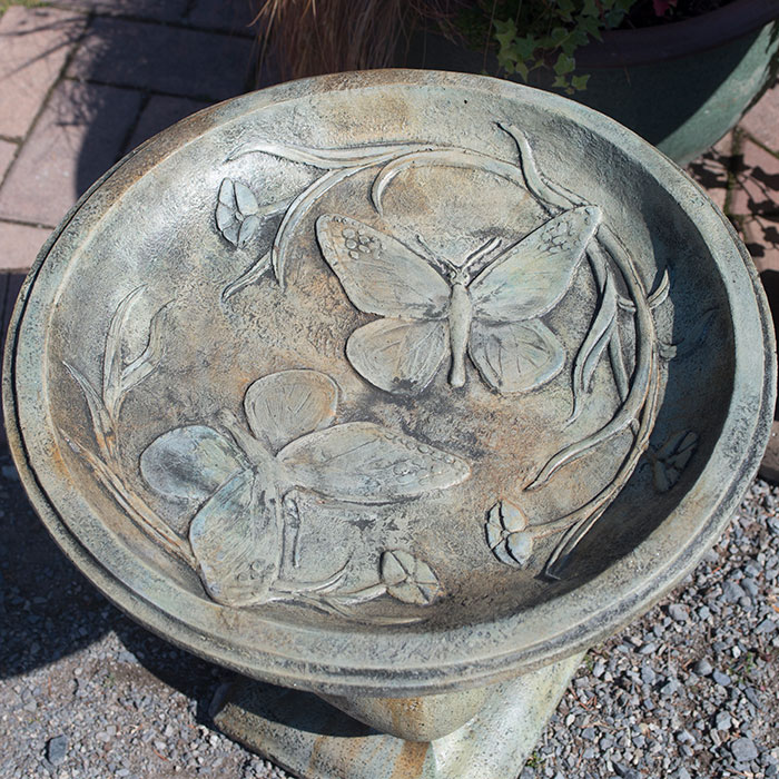 Butterfly Birdbath Bowl Detail
