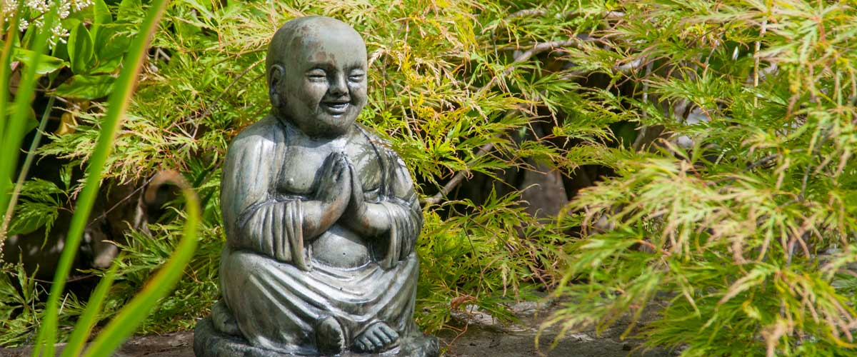 Yoga Buddha Namaste, stained concrete ornament for outdoor asian garden or patio