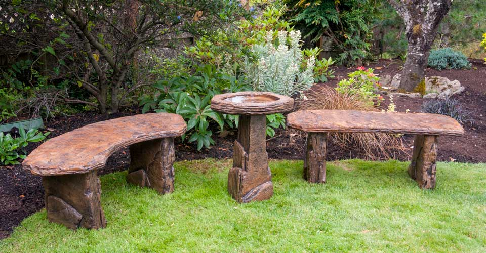 Fossil Benches and Birdbath, stained concrete furniture for outdoor garden or patio