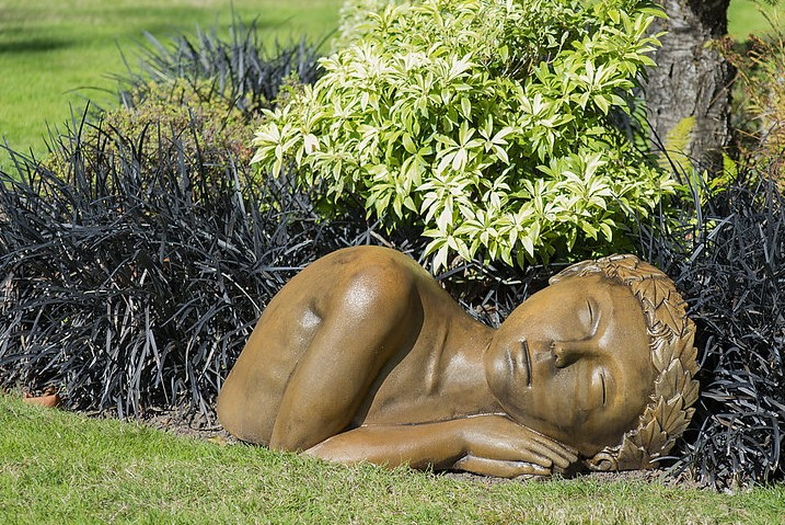 Terra Dormis sleeping girl garden statue, ornament