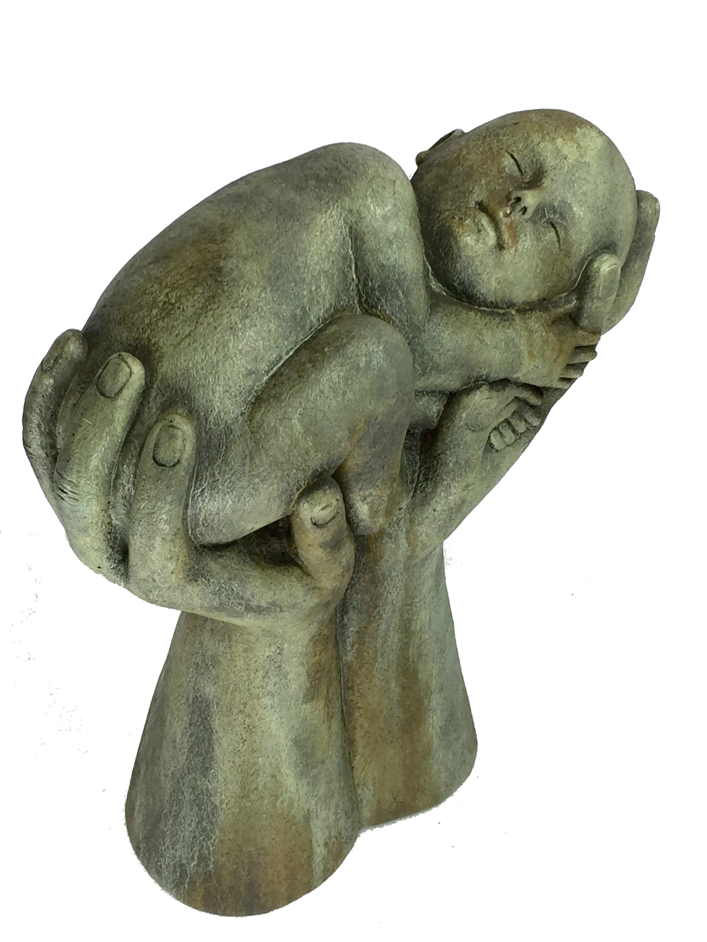 Nature's Infant, concrete statue of baby in hands fr yard