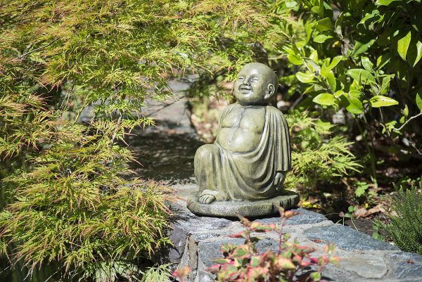 Yoga Buddha - Lunge Position, medium size concrete garden ornament, statue