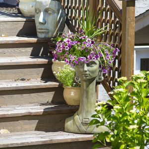 Hortus Rex, concrete torso planter for patio, garden