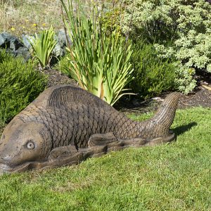 Giant Swimming Koi concrete, garden fish Japanese statue