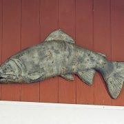Hanging Trophy Fish outdoor statue, wall plaque for the garden