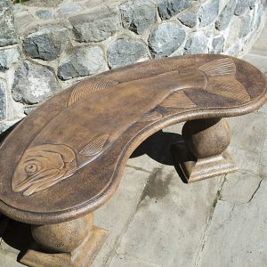 Trophy Fish curved concrete, stone garden bench