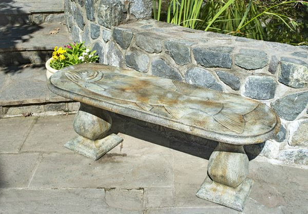 Trophy Fish concrete, stone garden bench