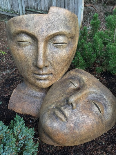 Tranquility, lover's faces garden ornament, statue