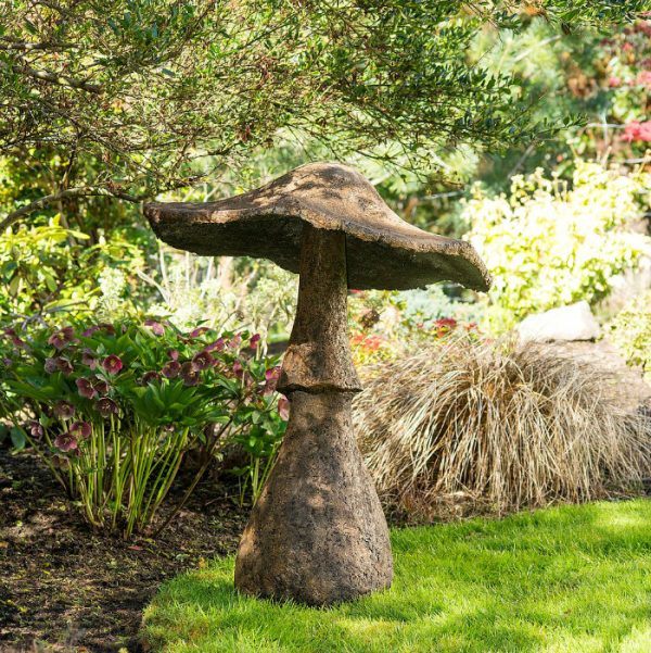 "Unique Giant Garden Mushroom (44"" high""), made in 2 pieces from concrete"