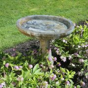 Fisherman's Birdbath, a concrete birdbath with the bowl featuring two trophy fish