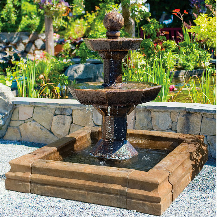 3 Tier Octagonal Fountain - Square pond