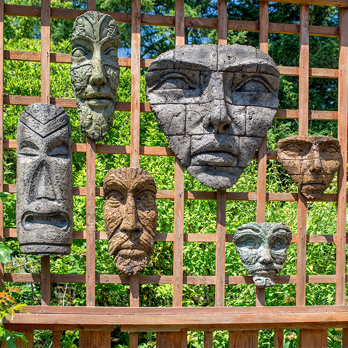 Hanging Face Collection for garden walls