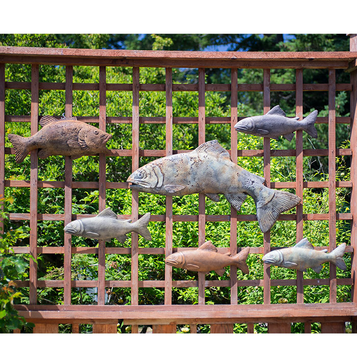 Hanging Fish Collection for garden walls