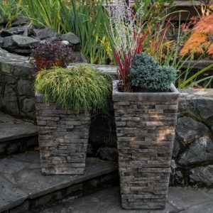 Stacked Stone Planter, concrete square