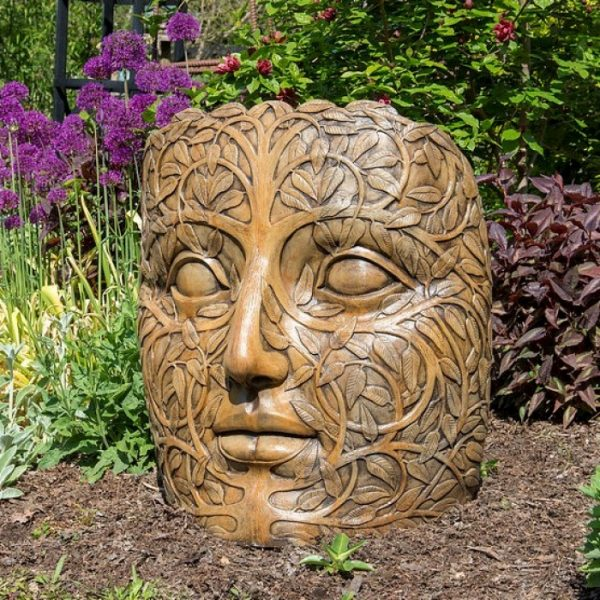 face, concrete statue,garden art, portrait,outdoor statue